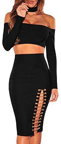 Brocade Tulip Skirt (IF FEEL Womens Sexy lim Fit Elastic Waist Bodycon Pencil Slite Skirt ((US 8-10)M, black))