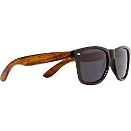 Woodies Walnut Wood Sunglasses with Black Polarized Lenses for Men or Women 28 BETTER PLANET: Wood is better for our environment than plastic SAFETY: Polarized Lenses Provide 100% UVA/UVB Protection EXTRAS: Includes FREE Carrying Case, Lens Cloth, and Wood Guitar Pick