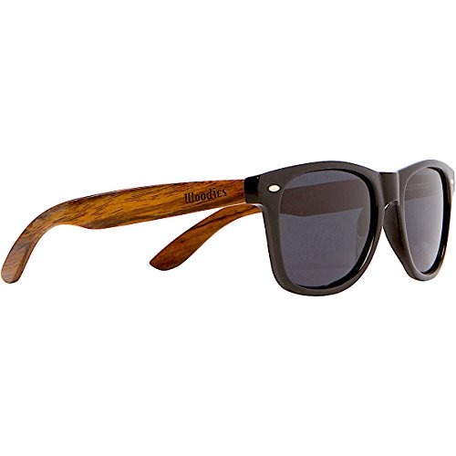 WOODIES Wayfarer Walnut Wood Sunglasses with Black Polarized Lenses for Men or - Reflective Ray Bans