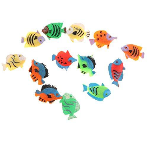 MagiDeal 12 Piezas Figuras de Peces Tropicales Juguetes de Animales Marinos Plásticos Decoración para Hogar