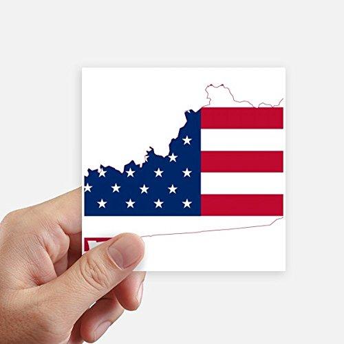 DIYthinker Kentucky USA Map Stars Stripes Flag Shape Square Stickers 10cm Wall Suitcase Laptop Motobike Decal 8pcs