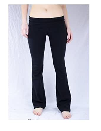 Basic House Womens Fold over Waist Solid and Contrast Lounge Pants,Small,Black