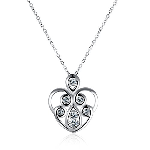 The Starry Night Heart Fashion Popular Zircon Pendant Silver Plated Love Gift Clavicle Necklace