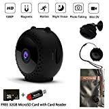 Mini Hidden Wireless Spy Camera with Strap and Magnetic Mount SD Card and Card Reader, 150 Wide Angle Full HD 1080P Cam with Night Vision and Motion Detective, Video Record for Anywhere