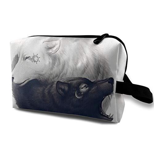 Yin Yang Wolf Cosmetic Bags Makeup Organizer Bag Pouch Zipper Purse Handbag Clutch Bag -
