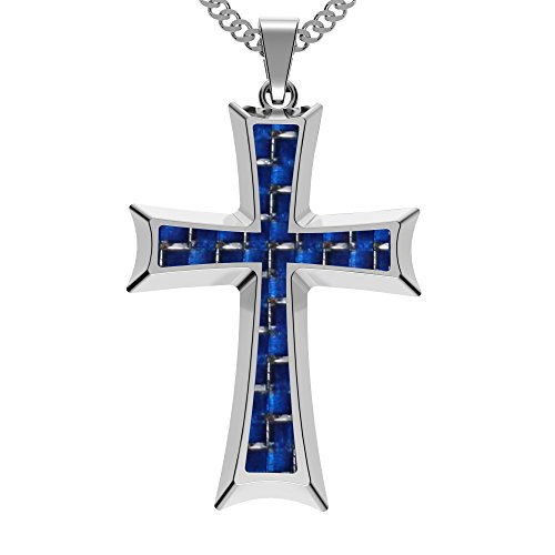 coolman-stainless-steel-blue-carbon-fiber-cross-pendant-necklace-236-inches-chain-with-branded-gift-