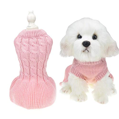 (MUYAOPET Sweaters for Dogs Female Girl Pink Winter Cat Dress Pet Knitted Clothes for Dachshund Bulldog Corgi (XS, Pink))