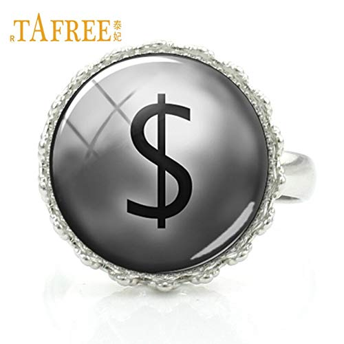 Rings - Fashion Hiphop Jewelry Dollar Sign Logo Rings Glass Cabochon Dollar Mark Crown Rings for Trendy Women Men 2018 Gift DL03 - by LVT11-1 PCs