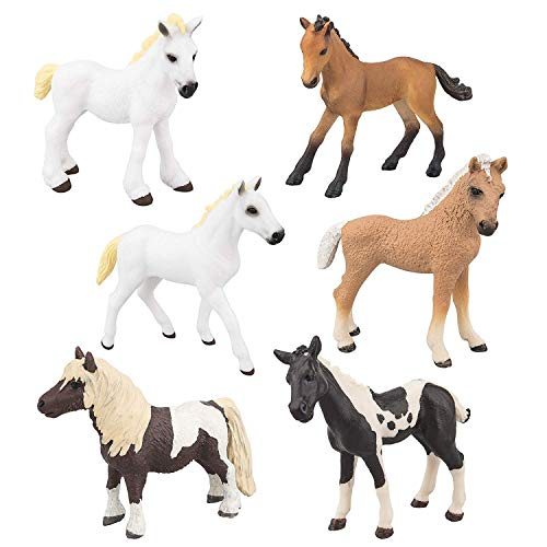 TOYMANY 6PCS Realistic Horse Pony Figurines Set, Detailed Textures Foal Animal Figures Toy, Christmas Birthday Gift Cake Topper for Kids Toddlers Children ()