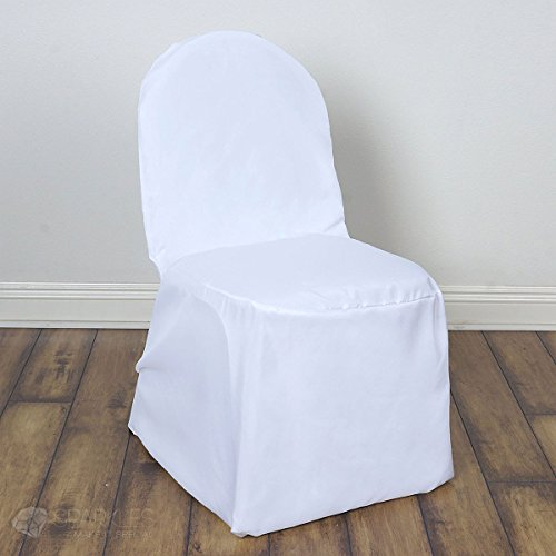Sparkles Make It Special 100 pc Polyester Banquet Chair Covers - Wedding Reception Banquet Party Restaurant - White ()