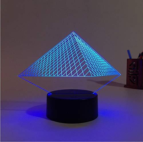 Venta caliente de la pirámide 3D USB llevó la luz de la noche 7 ...