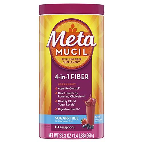 Metamucil Fiber, 4-in-1 Psyllium Fiber Supplement, Sugar-Free Powder, Berry Flavored Drink, 114 Servings (Packaging May Vary)