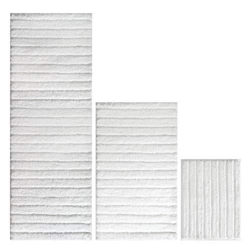 mDesign Soft Microfiber Non-Slip Bathroom Mat/Rug Set for Vanity, Bathtub/Shower, Dorm Room - Set of 3, White