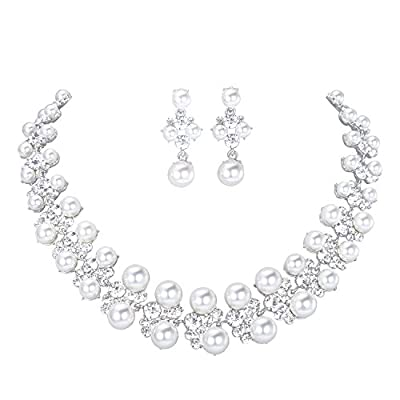 LILIE&WHITE Imitation Pearl Jewelry Set For Women Wedding Necklace Bridal Earrings Lt Grey