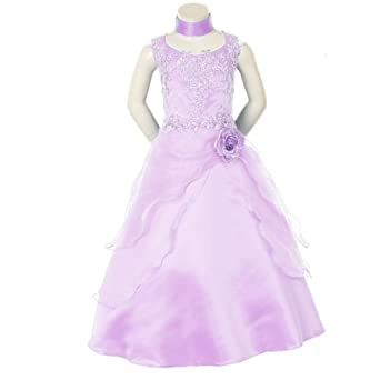 a8c459265 SIZE: 10 - EASTER CLEARANCE Girls Lilac Elegant Formal Gown with Scarf  (Size 4