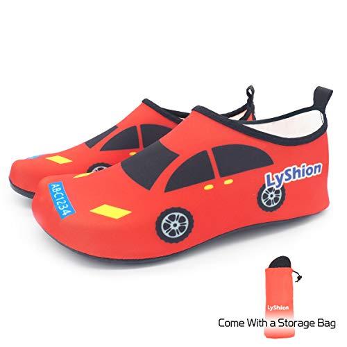 Schwimmschuhe Kinder Schnell Damen Schlüpfen für Badeschuhe Herren Aquaschuhe Wasserschuhe LYSHION Rot Auto Schwimmen Surfschuhe Trocknend wp7CxEq8