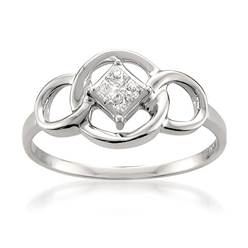 Diamond Set Celtic Ring - La4ve Diamonds 14k White Gold Princess-Cut Diamond Invisible-Set Celtic-Style Engagement Ring (1/10 cttw, I-J, I1-I2), Size 7