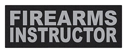 TACTICAL IDENTIFICATION PATCHES Firearms Instructor - 11x4 - Gray Lettering - Black Backing - Hook Fabric