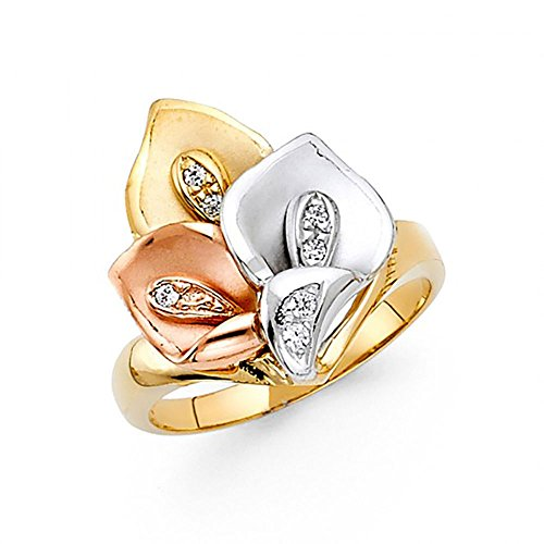 American Set Co. 14K Tri-Color Gold Calla Lily Flower CZ Ring