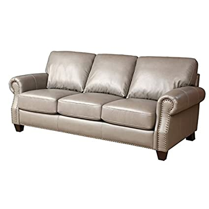 Amazon.com: Pemberly Row Leather Sofa in Gray: Kitchen & Dining