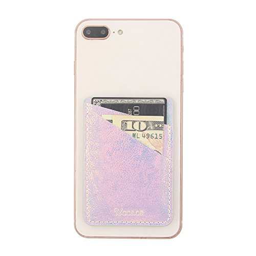 Phone Card Holder Sleeves uCOLOR Iridescent Pink PU Leather Wallet Pocket Credit Card ID Case Holder - http://coolthings.us