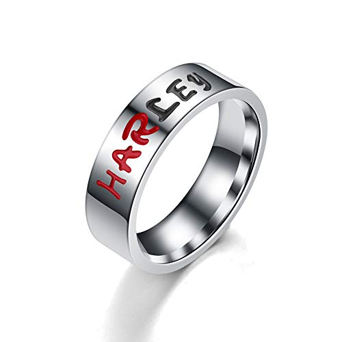 BICMTE New Harley Quinn and The Joker Lover Couple Stainless Steel Wedding Rings,Jewelry The Joker Harley Quinn His and Hers Ring,Anniversary(Harley, 9) (The Joker With Harley Quinn)