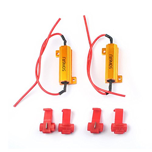 KingFurt 3157 3057 4157NA 50W 6Ohm Error Free LED Lights Load Resistor Adapter Fix Flashing Fast Blinking Canbus Bypass Wiring Harness for Upgrading LED Turn Signal Blinker Light Lamps