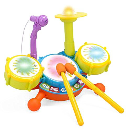 Kids Drum Set, KAWO Kids Beats Flash Light Toy Drum Set,with Adjustable Sing-along Microphone (Little Girl Drum Set)