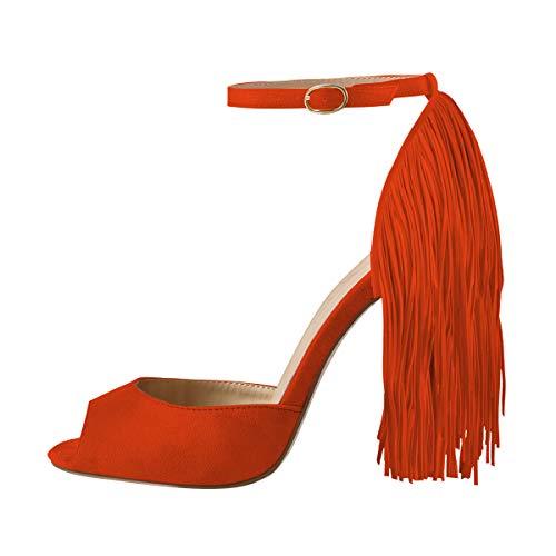 - Onlymaker Women's Fringe Decoration Peep Toe High Heel Sandal Ankle Buckle Big Size for Party Orange 10 M US