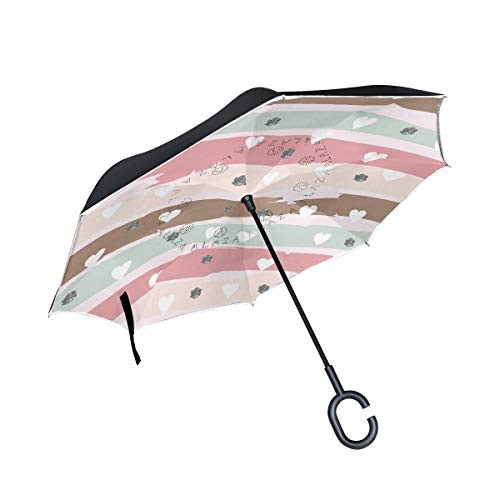 - hengpai Abstarct Striped Pattern with Hearts and Glittery Reverse Inverted Inside Out Umbrella Cars Unigue Windproof UV Proof Double Layer for Women