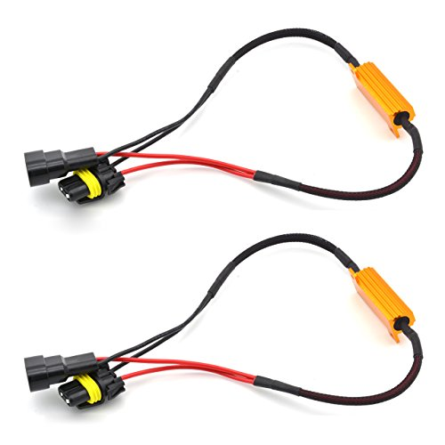 KaTur 2pcs 50W 8ohm 9006 9005 Load Resistor Connector Auto Car LED Turn Signal Bulbs Fog Light Daytime Running Lights Error Free Cancellor Capacitor Decoder Wire
