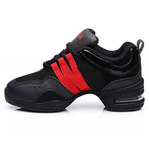 HROYL Damen Sneaker Tanzschuhe Moderne Tanzschuhe jazzdance Schuhe Fitness Halbschuhe Sportschuhe Turnschuh Modell B55 Schwarz+Rot