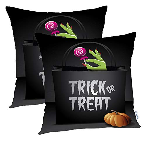Batmerry Halloween Pillow Covers 18x18 inch Set of 2,Trick Treat Halloween Bag Free Stock Greeting Social Candy Evil Throw Pillows Covers Sofa Cushion Cover Pillowcase -