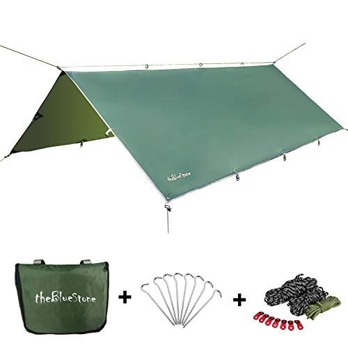 theBlueStone Hammock Rain Fly in 10 x 12 Feet for Canopy Hammock Outdoor Camping, Oxford Waterproof Tarp Shelter (Dark Green)