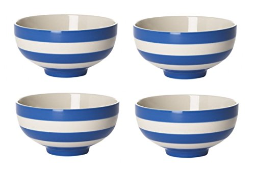 - Cornishware Blue and White Stripe Set of 4 Soup Bowls