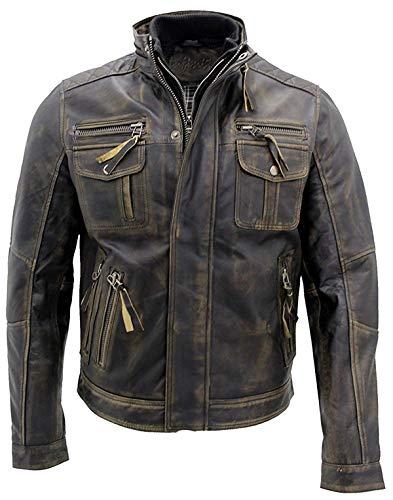 Cafe Racer Vintage Antique Retro Multi Pockets Distressed Brown Jacket