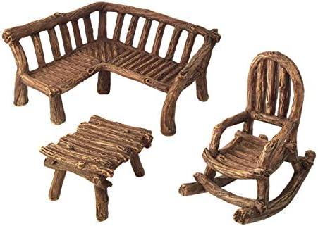 GlitZGlam Juego de Muebles de 3 Piezas para jardín para Hadas en Miniatura: Banco de Madera Estilo rústica, Mecedora y Mesa en Miniatura: Amazon.es: Jardín