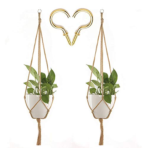 XeeDoo Plant Hanger (2 Pack),Macrame Plants Holder with Hooks 2
