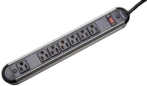 Finished Strips - Fellowes 7-Outlet Heavy Duty Metal Power Strip, 12 Foot Cord (99089)