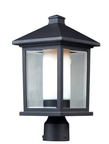 Z-Lite 523PHM Mesa Outdoor Post Light, Aluminum Frame, Black Finish and Clear Beveled and Matte Opal Shade of Glass Material by Z-Lite Lighting by Z-Lite Lighting