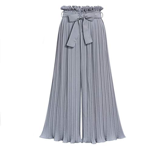 Xinantime Women's Premium Pleated Wide Leg Palazzo Pants- High Waist with Drawstring Women's Large Size Pants Gray