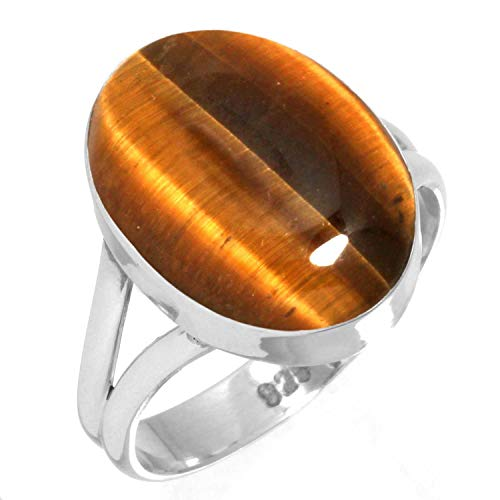 Oval Tigers Eye Cabochon Ring - Natural Tiger Eye Ring 925 Sterling Silver Handmade Jewelry Size 10.5