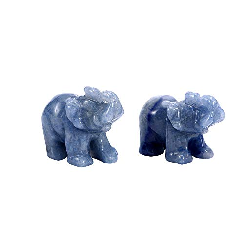 Ornament Elephant - 1 Pcs Mini Aventurine Carved Blue Elephant Natural Stone Figurines Craft Home Living Room Desk - Silver Miniatures Metal Figurines ()
