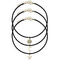 Hunputa 3 Pieces Star Moon Sun Pendant Choker Necklace Set Stretch Velvet Classic Gothic Tattoo Lace Choker