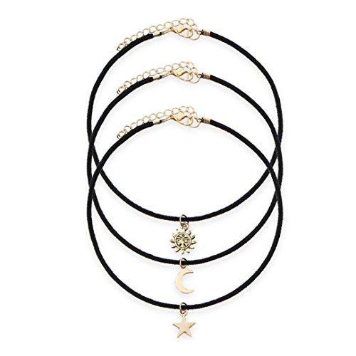 (Hunputa 3 Pieces Star Moon Sun Pendant Choker Necklace Set Stretch Velvet Classic Gothic Tattoo Lace Choker)