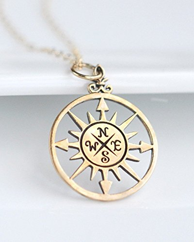 Woman's Gold Compass Necklace Wanderlust Travel Jewelry College Graduation Gift for Her - 18""