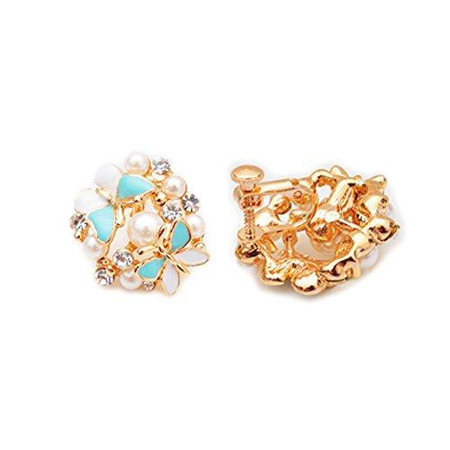 Latigerf Fashion Jewelry Gold Plated Women's Butterfly Rhinestone Screw Back Non-Pierced Clip on Earring Clips for non Pierced Ears for Girl Blue Screw Clip Earrings
