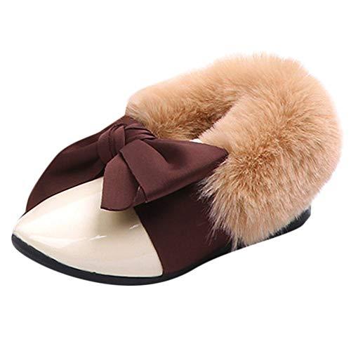 Todaies Children Toddler Baby Fur Sneaker Girls Bow Warm Soft Anti-Slip Single Shoes (Paris Fringe Hilton)