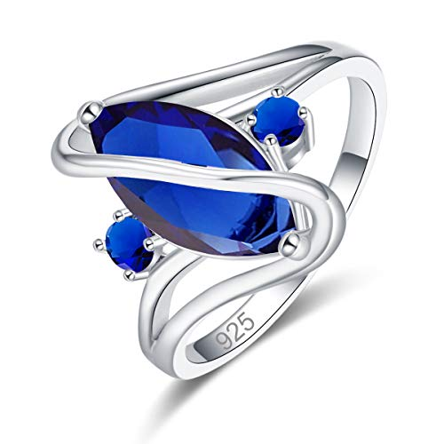 (Psiroy 925 Sterling Silver Created Blue Sapphire Quatrz Filled Marquise Cut Ring for Women Size 8)