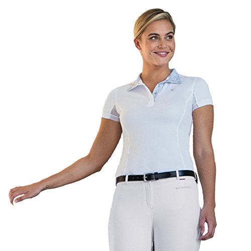 Ladies Show Shirt - Horze Blaire Women's Short-Sleeved Functional Show Shirt-8-White